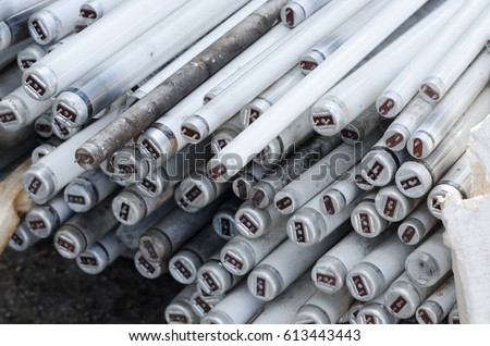 Old used fluorescent tube, fluorescent tube light .