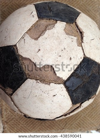 Old used football or soccer ball ,euro 2016, 2018 fifa world cup #438590041