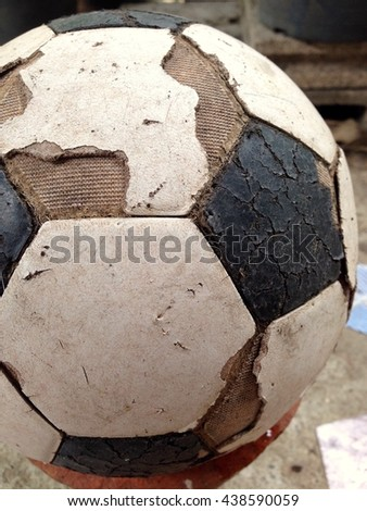 Old used football or soccer ball .euro 2016, 2018 fifa world cup. #438590059