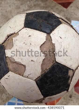 Old used football or soccer ball .euro 2016, 2018 fifa world cup, #438590071