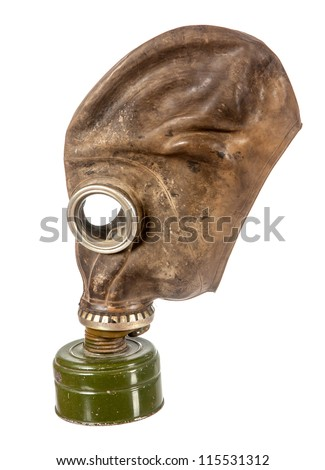 Old used gas mask with green filter isolated on white background