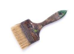 Old used paintbrush tool isolated on white background. Construction paint brush for house room renovation