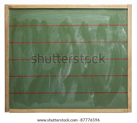old used red lined blackboard, badly wiped out. Studio photography in white back