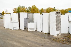 Old used refrigerators and freezers are stored separately in the waste station. Here are some standing together