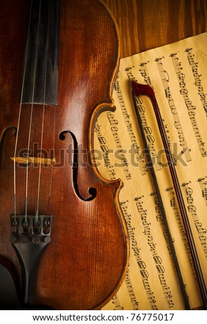 old used violin and note close up