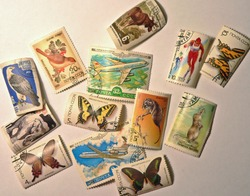 Old USSR postage-stamps with butterflies, airplanes, sportsmen and birds