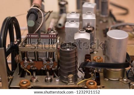 Old vacuum tube radio inside #1232921152