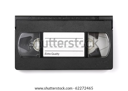 Old VHS video cassette tape with blank label for copyspace