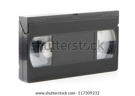 Old VHS Video tape isolated on white background. - stock photo