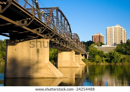 Old Victoria Bridge over the South Saskatchewan River in Saskatoon, Saskatchewan, Canada.