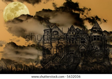 Old Victorian Haunted Mansion Illustrated on a Spooky Background With Moon for Halloween