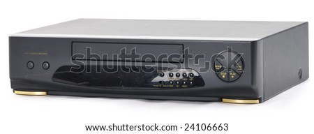 Old video cassette recorder on the white background. Front side.