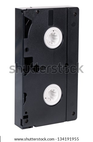Old video cassette standard VHS, isolated on white background