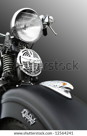 Old Vietnam era motorcycle with hawk icon on the front - Clipping Path Included