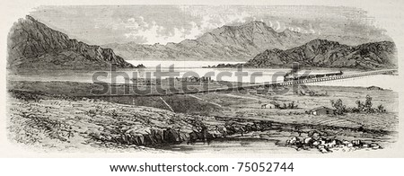 Old view from east of Great Salt Lake, Utah, and Union Pacific railroad across it. Created by Blanchard and Cosson-Smeeton,  published on L'Illustration, Journal Universel, Paris, 1868