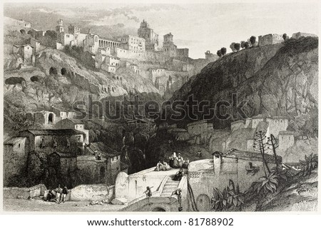 Old view of Castrogiovanni, at present days Enna, Sicily, Italy. Created by Leitch and Starling, published on Il Mediterraneo Illustrato, Spirito Battelli ed., Florence, Italy, 1841