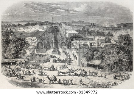 Old view of Chandni Chowk, the major street of Old Delhi. Created by De Bar and De Berard, published on L'Illustration, Journal Universel, Paris, 1857