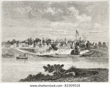Old view of Forth Smith and Arkansas river, Arkansas. Created by Lancelot after report made under the direction of the U.S. secretary of the war. Published on Le Tour du Monde, Paris, 1860