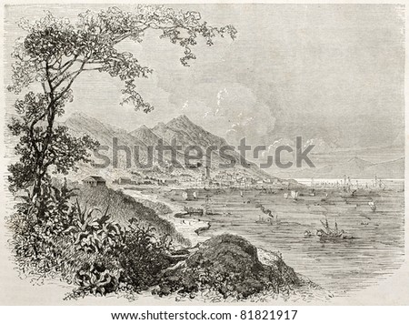 Old view of Hong-Kong. Created by Sabatier after watercolour of Trevise, published on Le Tour du Monde, Paris, 1860