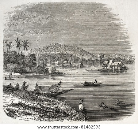 Old view of Malaysian houses in Singapore. Created by Freeman, published on L'Illustration Journal Universel, Paris, 1857
