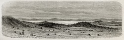 Old view of Murchinson bay in Victoria lake, Uganda. Created by Riou, published on Le Tour du Monde, Paris, 1864