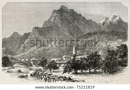 Old view of Saint Michel de Maurienne, alpine country of Savoy, Rhone-Alpes region, France. Created by De Bar, published on L'Illustration, Journal Universel, Paris, 1868