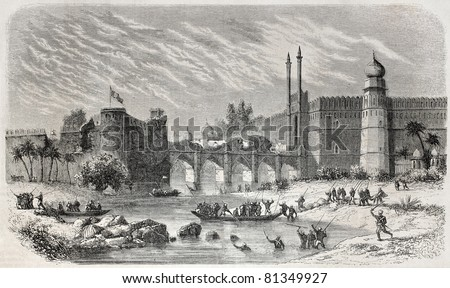Old view of Saligmarh fort and Red fort in Delhi, separated by Yamuna river and linked by arched bridge. Created by De Bar, published on L'Illustration, Journal Universel, Paris, 1857