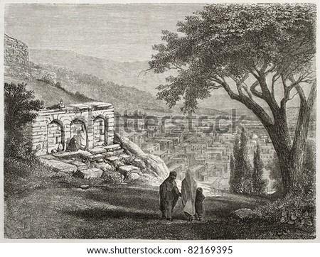 Old view of Shamaki, Azerbaijan. Created by Moynet, published on Le Tour du Monde, Paris, 1860