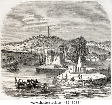 Old view of Singapore landing stage. Created by Freeman, published on L'Illustration Journal Universel, Paris, 1857