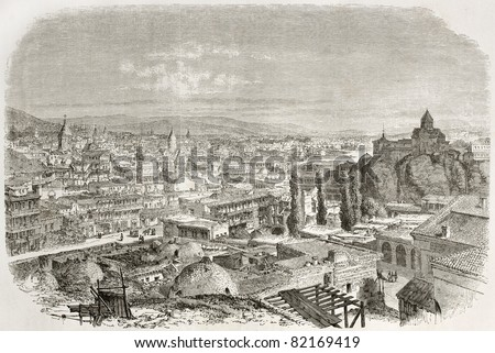 Old view of Tbilisi, Georgia. Created by Therond after photo of unidentified author, published on Le Tour du Monde, Paris, 1860 - stock photo