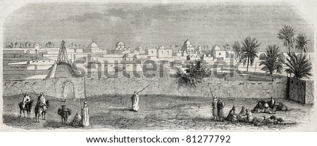 Old view of Temacin, Constantine province, Algeria. Created by Gaildrau, published on L'Illustration, Journal Universel, Paris, 1857 - stock photo