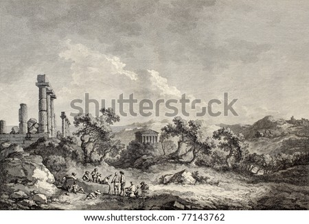 Old view of Valley of the Temples, Sicily. Created by Chatelet and Allix, published on Voyage Pittoresque de Naples et de Sicilie, by J. C. R. de Saint Non, Imprimerie de Clousier, Paris, 1786 - stock photo