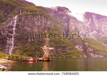 old viking boat in lysebotn ...