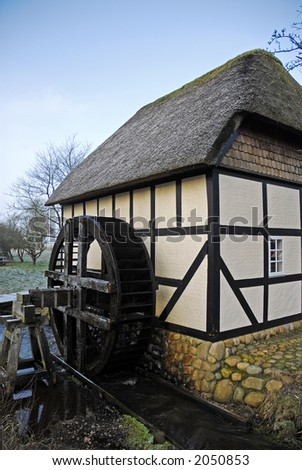 Old village water mill used to grinding grain for local farmers. Jutland, Denmark.