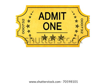 Old vintage admit one entrance ticket isolated on white