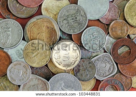 Old, vintage and new indian coins background