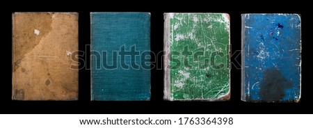 Old Vintage Antique Aged Rarity Book Cover Collection Set Isolated on Black. Rough Damaged Shabby Scratched Wrinkled Paper Cardboard Texture. Front View.  Сток-фото ©
