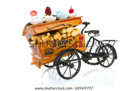 Old vintage bakery car with bread and fancy cakes