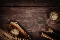 Old Vintage Baseball Background. Shallow focus