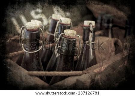old vintage beer bottles in a...
