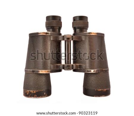 old vintage binoculars isolated on white