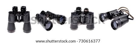Old vintage binoculars on a white background  #730616377