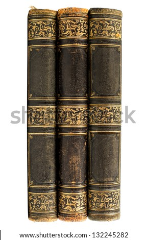 Old vintage black books isolated on white background