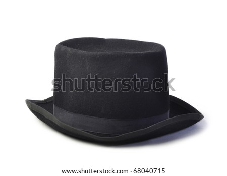 Old vintage black hat isolated on white