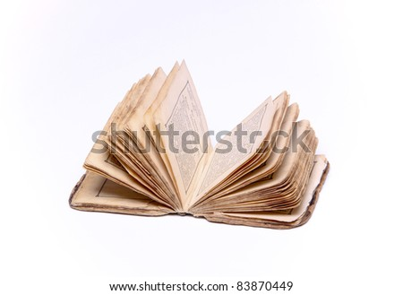 old vintage book on white background