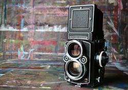 old vintage camera in artist's studio