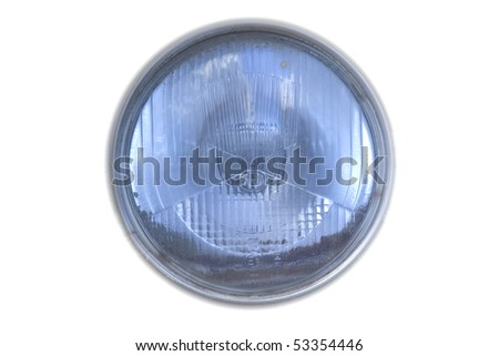 old vintage car headlight isolated