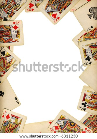 Old vintage cards on a white background isolated - stock photo