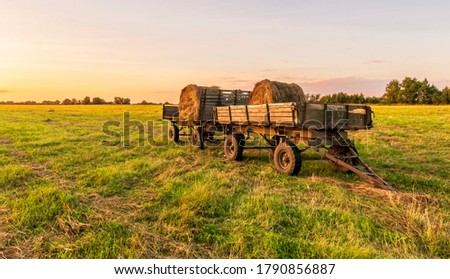 Old vintage carriage with hay stacks in green shiny field with beautiful sunset , hay cart in country valley during sunrise , wagon with haystacks and scenic view Сток-фото ©