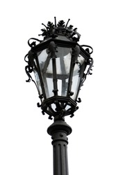 Old Vintage Cast Iron Street Lamp Post Isolated On White Background